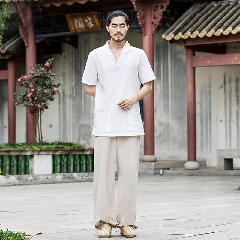Men Yoga Clothes Sets Cotton Meditation Clothing Shirt and Pants 2pcs/set Chinese Dress Sweat Steaming Suits For Men