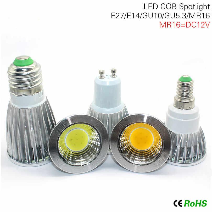 1 шт. E27 E14 GU10 лампада Светодиодная лампа с регулировкой 220V COB светодиодный светильник MR16 DC12V прожектор 9 Вт 12 Вт 15 Вт для лампы галогенные люстры