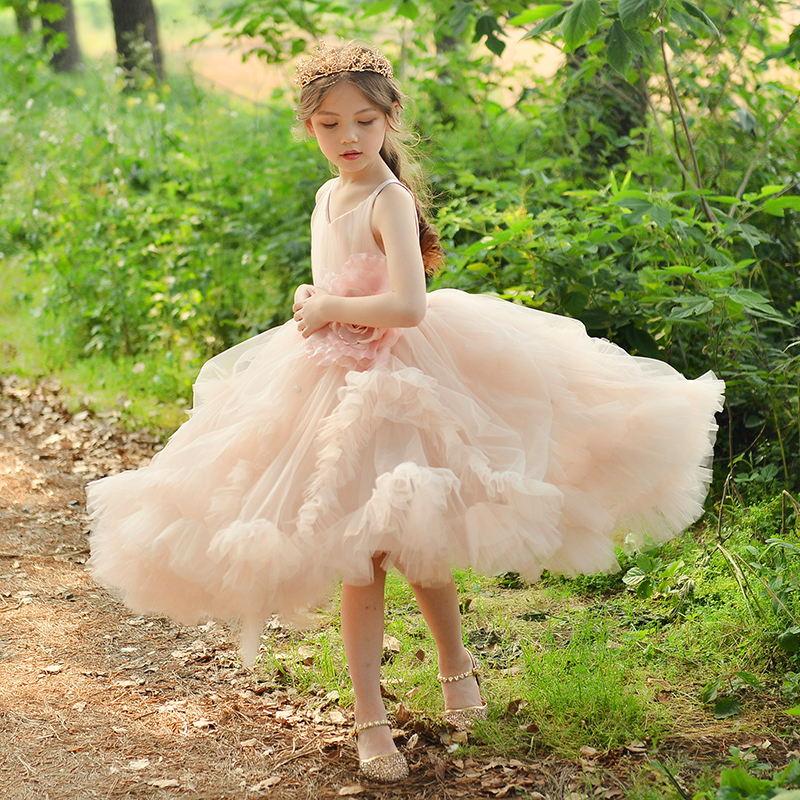 High Quality Girl Formal Dress Summer Baby Girl Pink Princess Dresses Sleeveless V-neck Flower Ball Gown baby pink v neck tassel detailed jumpsuit