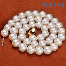 Eternal wedding Women Gift word 925 Sterling silver real natural big Natural pearl Long Necklace 9-10mm near cir