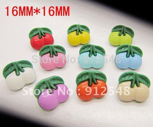 16mm 100pcs Cherry plastic buttons flower buttons for children garment ,yt001