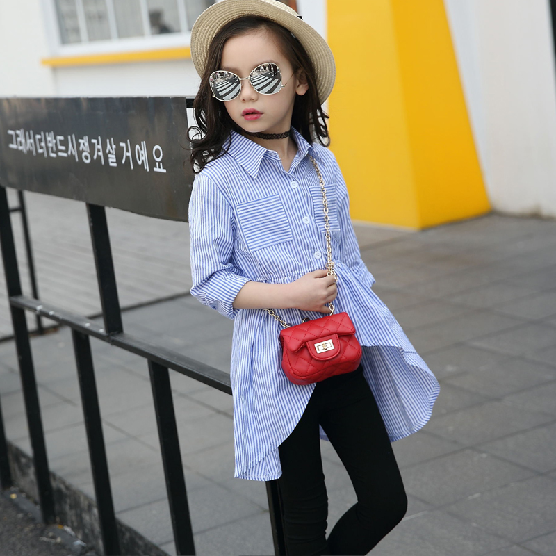 2018 Fashion Blouses Baby Girls OL Shirts Turn Down Collar Striped Child Teenage Girl Blouse Shirt Girl Long Sleeve Kids clothes pockets turn down collar long sleeve men s shirt