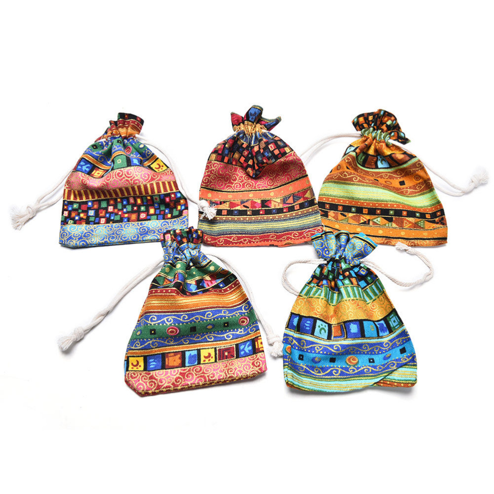 Pouch Exotic Fabric-Packaging Jewelry Wedding-Gift-Bag Drawstring Cloth Linen with Perfect