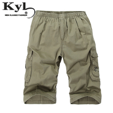 2016 New Loose Summer Men Casual Shorts Mid Waist Large Size Straight Knee Cropped Trousers With Pocket 3Colors DGJW015