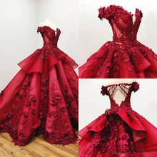 2019 Red 3D Floral Vestidos Quinceanera Fora Do Ombro Appliqued Beads Ball Vestido Meninas Pageant Vestidos Formais do baile de Finalistas do Vestido(China)