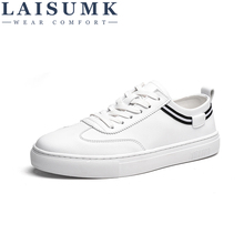 LAISUMK MenS Autumn Fashion Breathable Board Shoes Super Fiber Leather Solid Color Brand Casual Laces Up Flats For Males