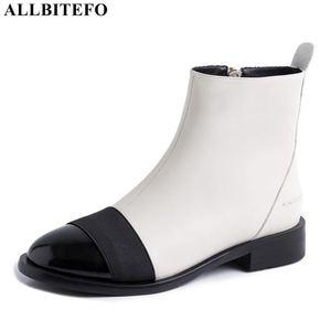 Image 1 - Allbitefo Thương Hiệu Thời Trang Da Thật Chính Hãng Da Thấp Gót Giày Bốt Nữ Phối Màu Cổ Chân Giày Cho Nữ Adies Giày Da Bò
