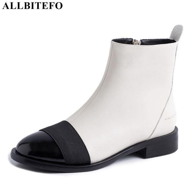 Allbitefo Thương Hiệu Thời Trang Da Thật Chính Hãng Da Thấp Gót Giày Bốt Nữ Phối Màu Cổ Chân Giày Cho Nữ Adies Giày Da Bò