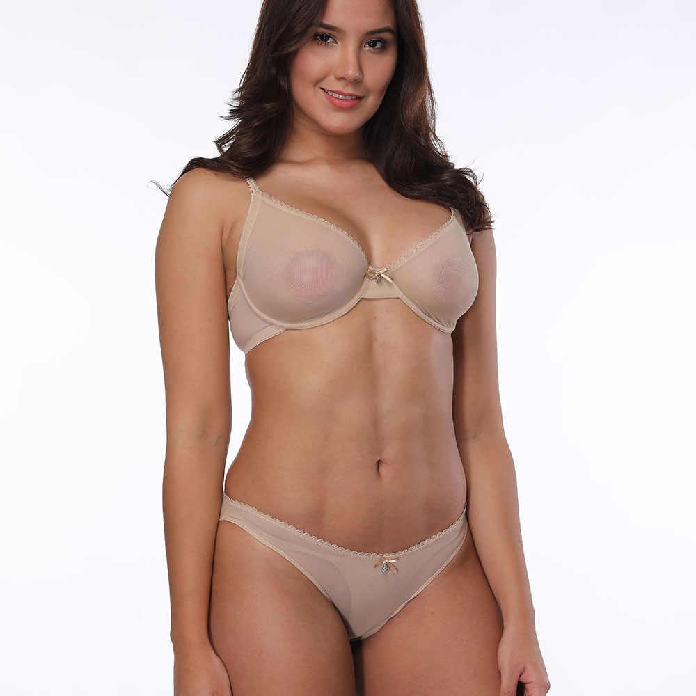 93bf67c50 YANDW Sexy Bra Panties Sales Separated Set Mesh Transparent Gauze See  Through Underwear breathe Women Erotic