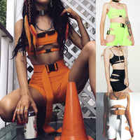2pcs Set Hip Hop Cool Cut Out Buckle Women Spaghetti Strap Sleeveless Crop Top Tank+Hole Shorts