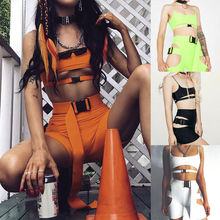 2pcs Set Hip Hop Cool Cut Out Buckle Women Spaghetti Strap Sleeveless Crop