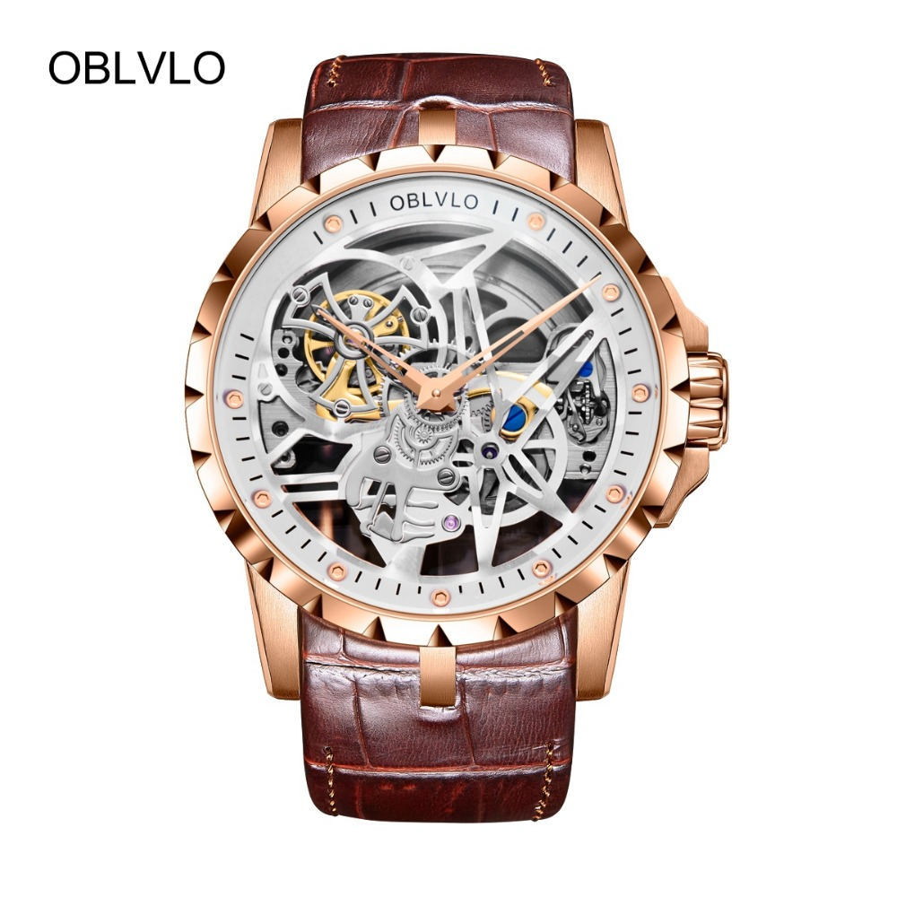 OBLVLO Skeleton Military Watches for Men Analog Display Tourbillon Automatic Watches Brown Leather Strap RM-1