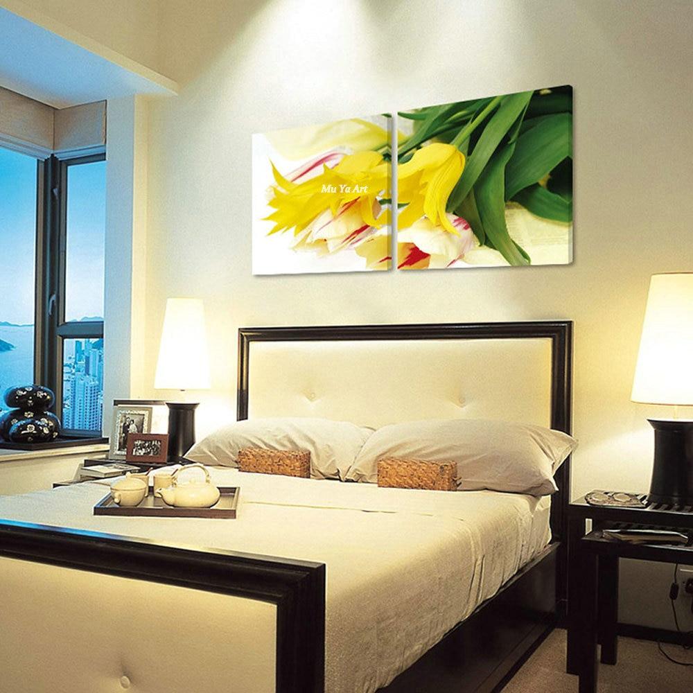 Large 2 Muti panel prints flower beautiful pintura modern tulip ...