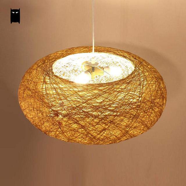 round wicker rattan bird nest pendant light fixture rustic country scandinave japan lamp luminaire suspension restaurant - Luminaire Scandinave