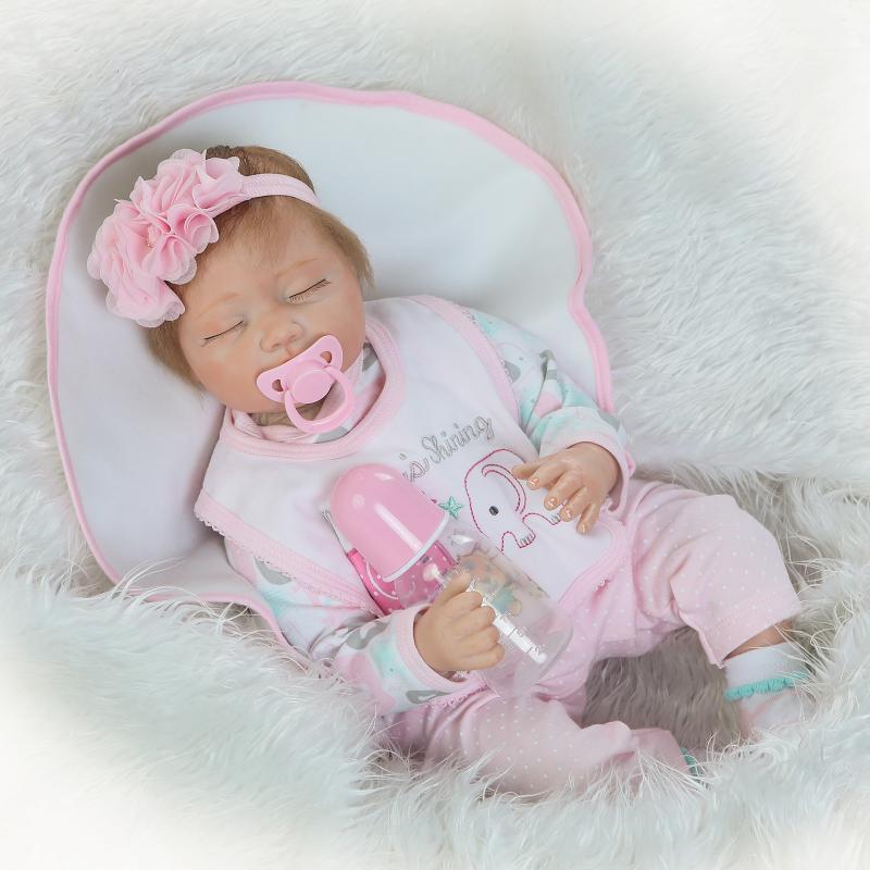 22'' 55cm Handmade Lifelike Baby Girl Doll Silicone Vinyl Reborn Newborn Dolls+Clothes [sgdoll] 2017 new 22 lifelike reborn pink dress baby girl dolls silicone vinyl handmade w bottle toy doll 16070607