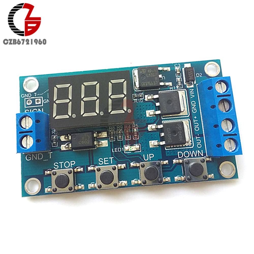 DC 12V 24V Dual MOS Digital Trigger Cycle Timer Delay Switch Circuit Board LED Tube Control Module DIY dc 12v led display digital delay timer control switch module plc