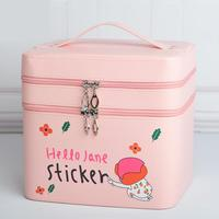 Fashion Cute Cartoon Double Layer Cosmetic Bag Pvc Makeup Bag Girls Cosmetic Case Women Pouch Travel Toiletry Storage Holder Bag