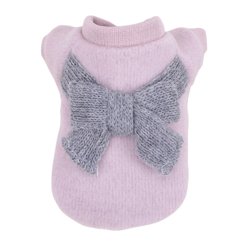 Вязаный свитер костюм свитер для кота с бантом 3 цвета пальто щенок Милая Одежда для собак ropa para perro - Цвет: 11