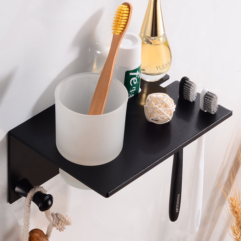Toothbrush Holder Set Black Space Sluminum Bathroom Shelves With Hooks Wall Mounted Toothbrush Holder Cup Bathroom Accessories