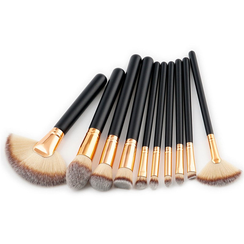 цена на 10pcs natural hair soft foundation powder kabuki fan shape highlighter blush Concealer Blending makeup brushes set cosmetic tool