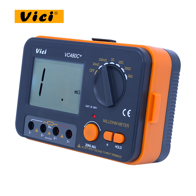 VC480C+high presion 3 1/2 Digital Milli-ohm Meter multimeter with 4 wire test accuracy Back light can measure the low impedance 1 pair silicone wire universal probe test leads pin for digital multimeter needle tip multi meter tester probe 20a 1000v