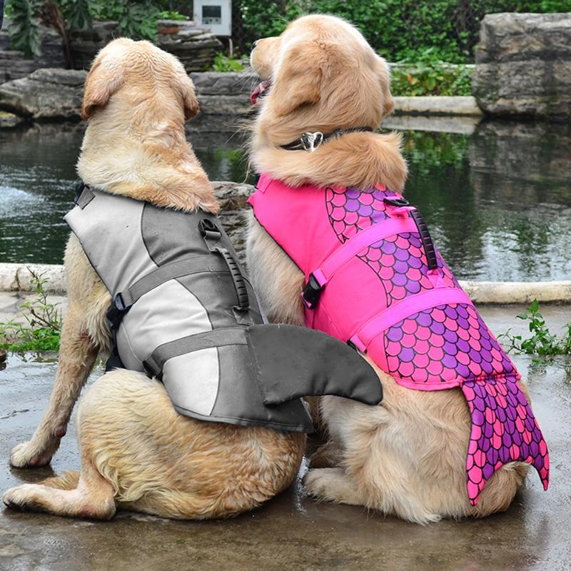 Pet Safety Vest Dog Life Jacket Doggy Puppy Safety Clothes Saver Shark Mermaid Swimming Preserver Swimwear Clothing Size S/M/L