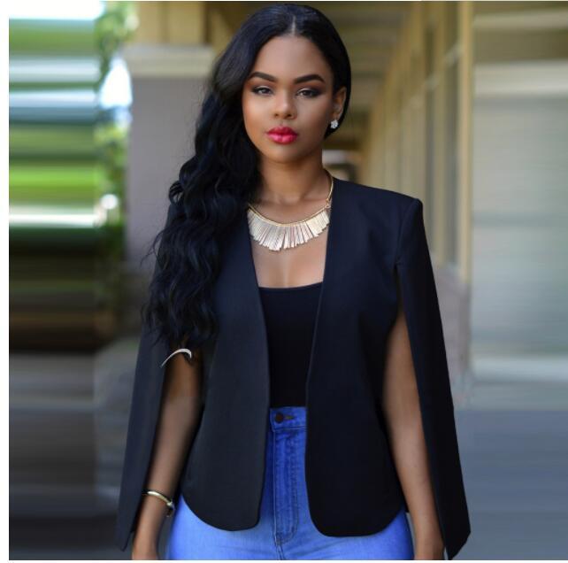 Women Blazer Top Autumn Korean Fashion Cloak White Black Lapel Split Long Sleeve Pockets Casual Suit Jacket  Elegant Office Wor