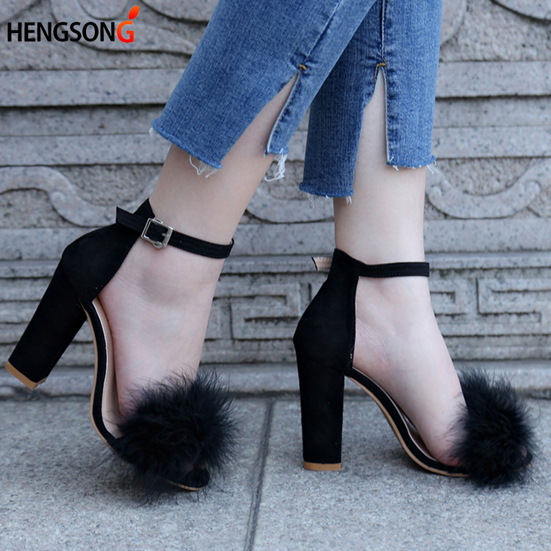 Ankle Strap Fur Sandals 2017 Fashion Suede High Heels Women Sandals Nude Heels Summer Shoes Ladies Party Sandals Plus Size 34-43 plus size 34 43 new 2017 summer women sandals fashion thick high heels party shoes t strap rome style ladies beach shoes