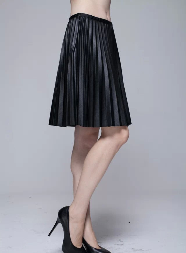 Knee Length Pleated Skirt - Dress Ala