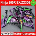 7 presentes injeção para KAWASAKI NINJA 300R 300 13 14 roxo EX300R C2260 ZX300R EX300 EX 300 roxo preto carenagem