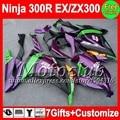 7gifts+Injection For KAWASAKI NINJA 300 300R 13 14 Purple blk C2260 ZX300R EX300  EX 300  Purple green EX300R 2013 2014 Fairing