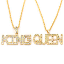 Unisex King & Queen Rhinestone Luxury Big Gold Pendant Letters Necklace Hip-hop Rock 70cm Long Chain Jewelry Couples Necklace(China)