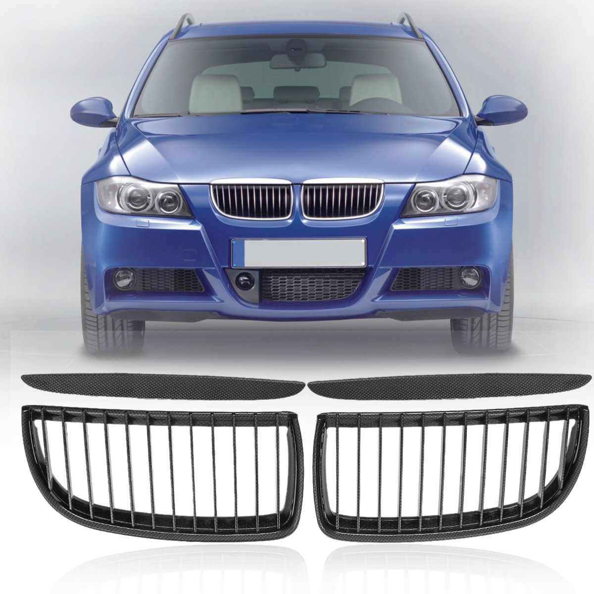 #51137120007 Pair Carbon Fiber Look Front Kidney Grill Grille For Bmw E90/e91 Sedan Touring 4-door 2005 2006 2007 2008 Street Price