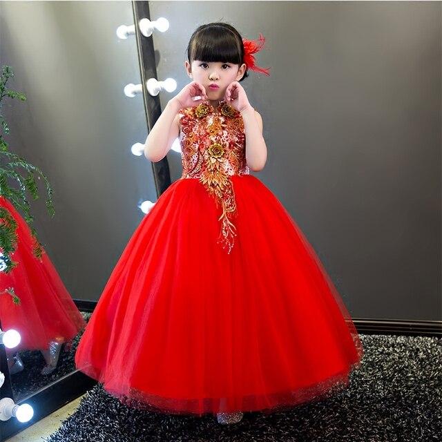 Prom dresses kids rote elegante lange kleid für mädchen formale ...