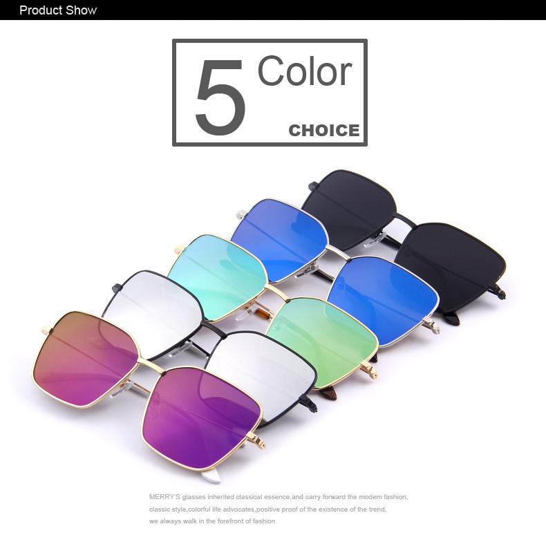 389b6b4e46 MERRY S Fashion Men Square Sunglasses Women Metal Glasses European ...