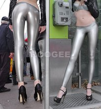 silvery nature rubber latex leggings