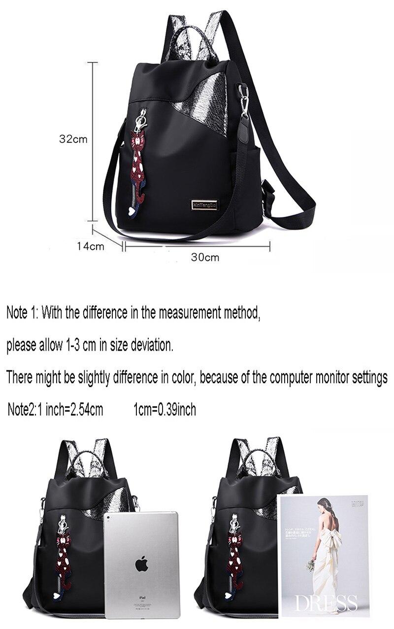 HTB1Kf05MXzqK1RjSZFvq6AB7VXaE Simple style ladies backpack anti-theft Oxford cloth tarpaulin stitching sequins juvenile college bag purse Bagpack Mochila