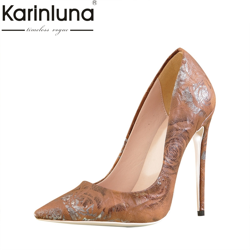 Karinluna Sexy Women's Flower Printed Thin High Heels Pointed Toe Party Wedding Shoes Woman Slip On Pumps Big Size 33-43 newest flock blade heels shoes 2018 pointed toe slip on women platform pumps sexy metal heels wedding party dress shoes