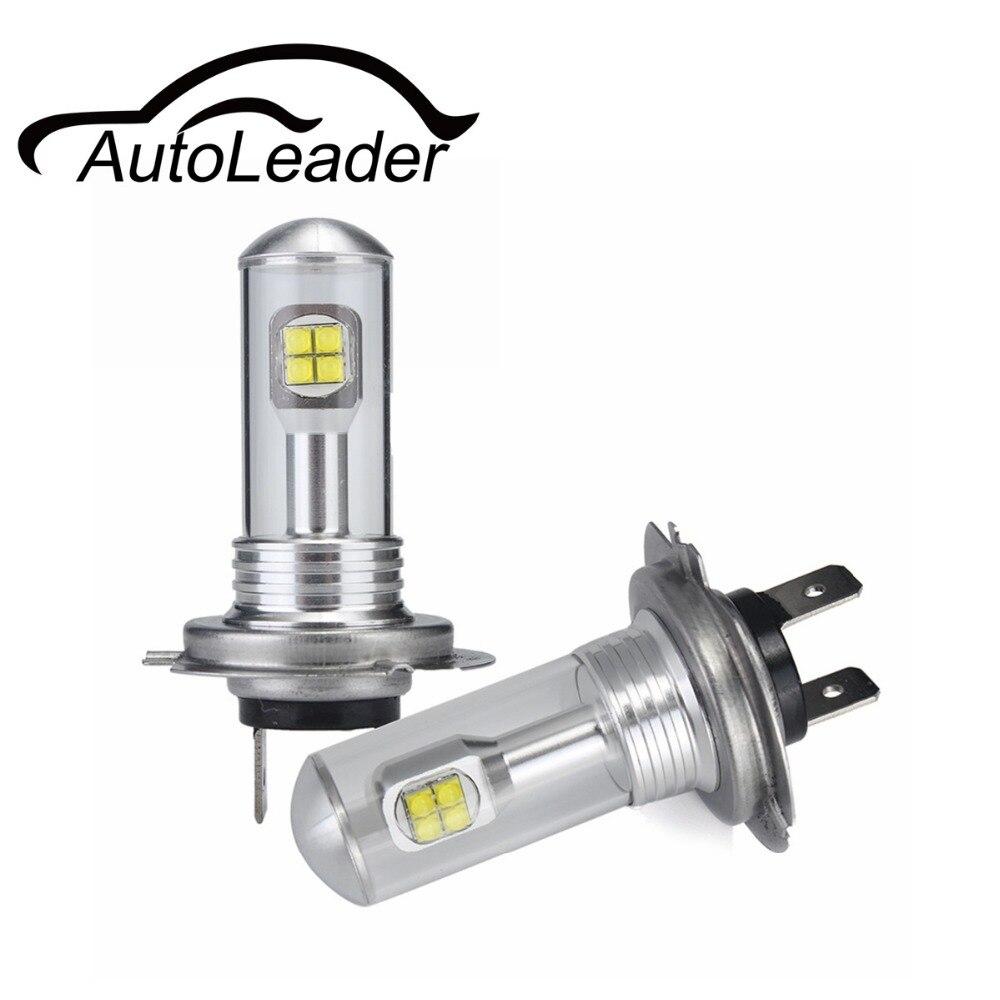 AutoLeader A18 H4 H7 H11 1 Paire Antibrouillards Feux de jour Auto voiture Led H1 H3 H16 9005 9006 1500lm Blanc 6000 K 80 W