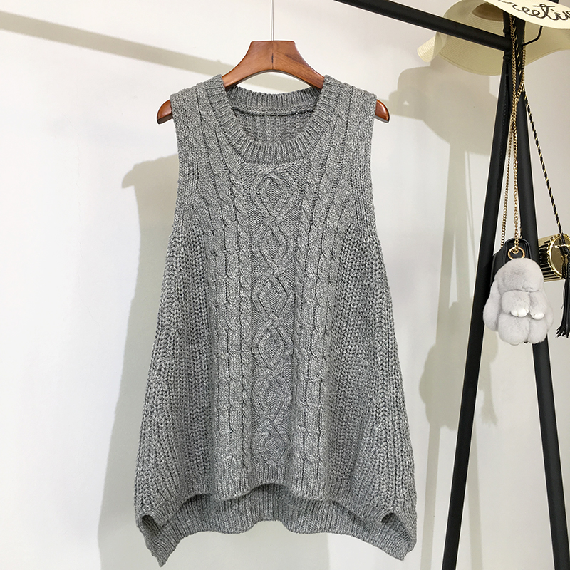 O-neck Blue Long Knitted Women's Sleeveless Jacket Winter Warm Female Vest Korean Ruffle Vests For Women Fashion Loose Waistcoat