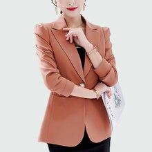 Для женщин Пиджаки для и куртки работы офисные женские туфли костюм тонкий 2018 Новый 5 цветов одной кнопки бизнес Женский блейзер пальт