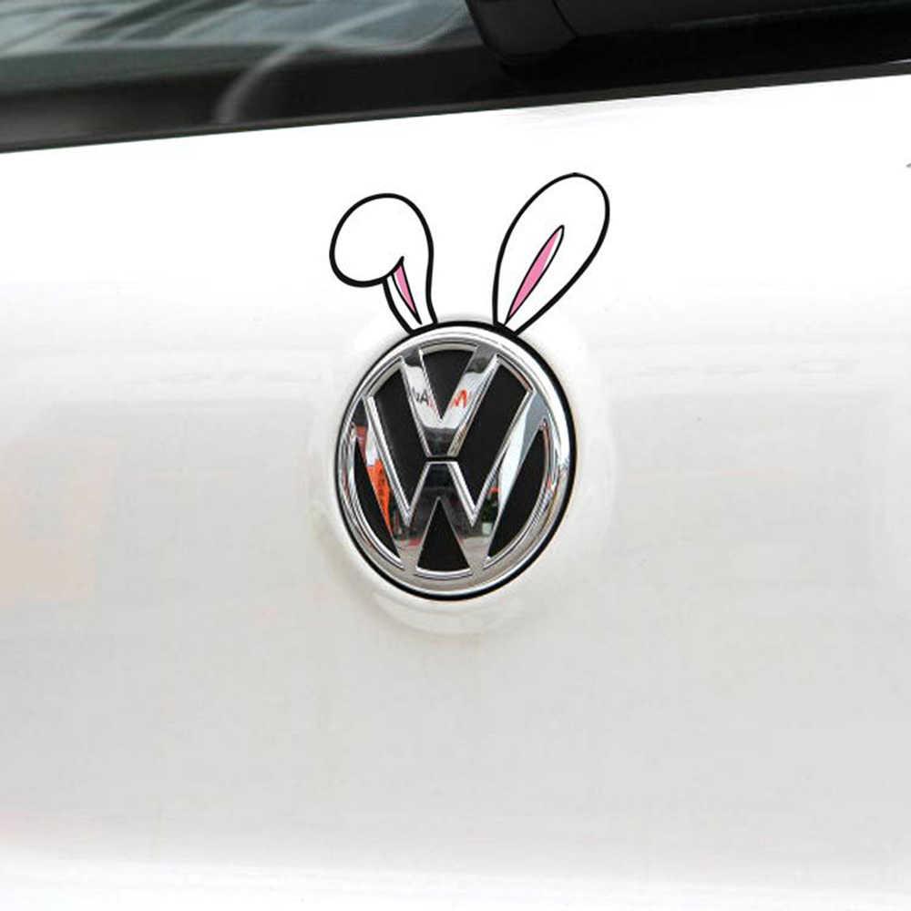 2 x Aliauto voiture style voiture poignée autocollant/décalcomanie drôle oreilles de lapin décoration pour volkswagen Golf 4 5 6 7 BMW Polo Skoda Mazda 3