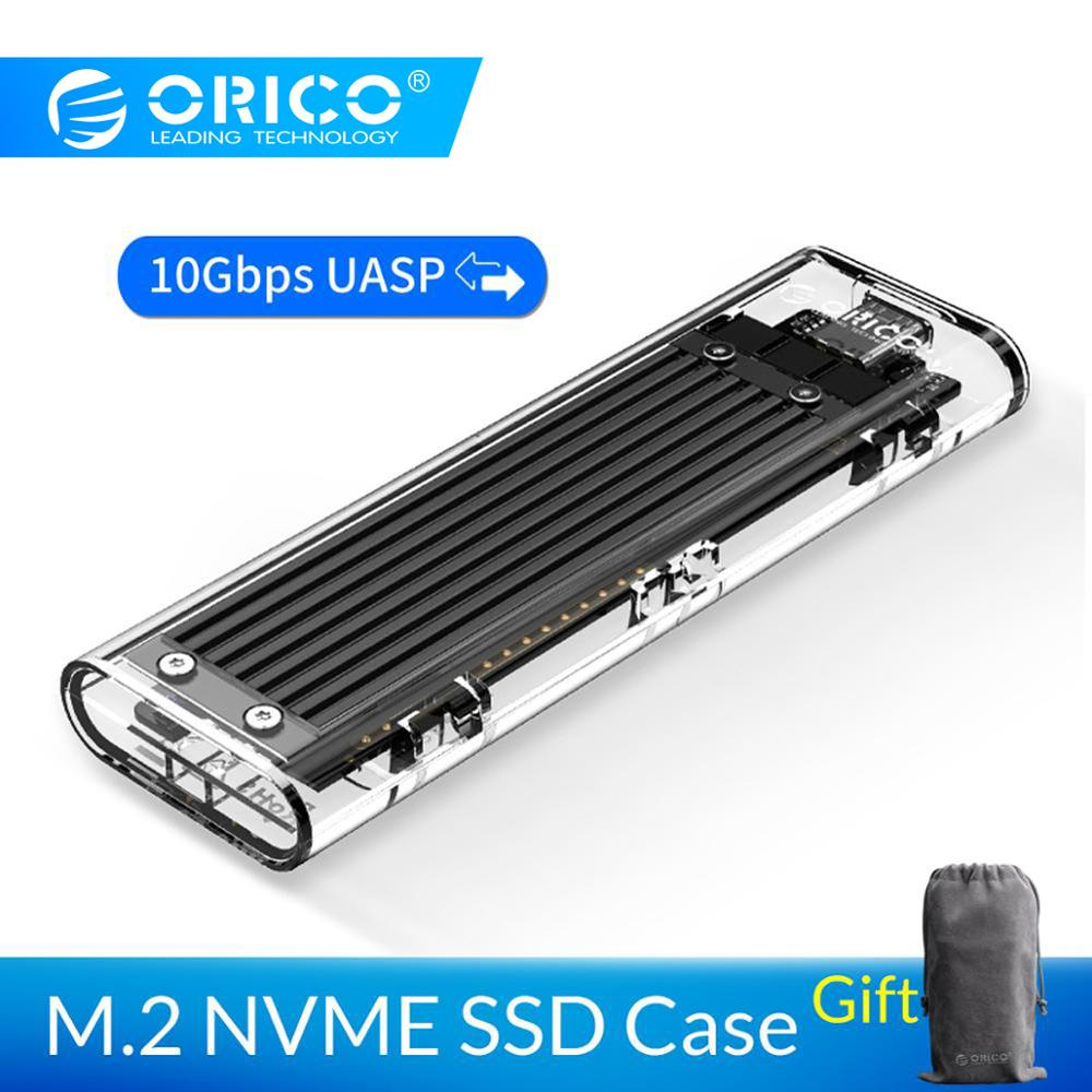 ORICO M 2 SSD Case 10Gbps Support UASP Protocol USB3 1 Gen2 Type C Mini Transparent SSD Enclosure With C to C and C to A Cable in HDD Enclosure from Computer Office