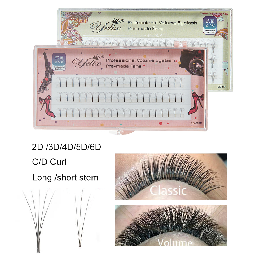 Yelix Premade Volume Fans Russian Volume Eyelash Extensions Cluster Lashes 2D-6D Long Stem Pre Made Individual Eyelashes