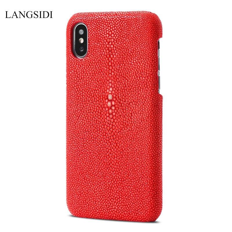 Étui pour iphone X XR XS en cuir véritable Stingray couverture de luxe Max pour iphone XS/XS Max 7 8 6 5 Plus 6S étuis Photo en peau de poisson