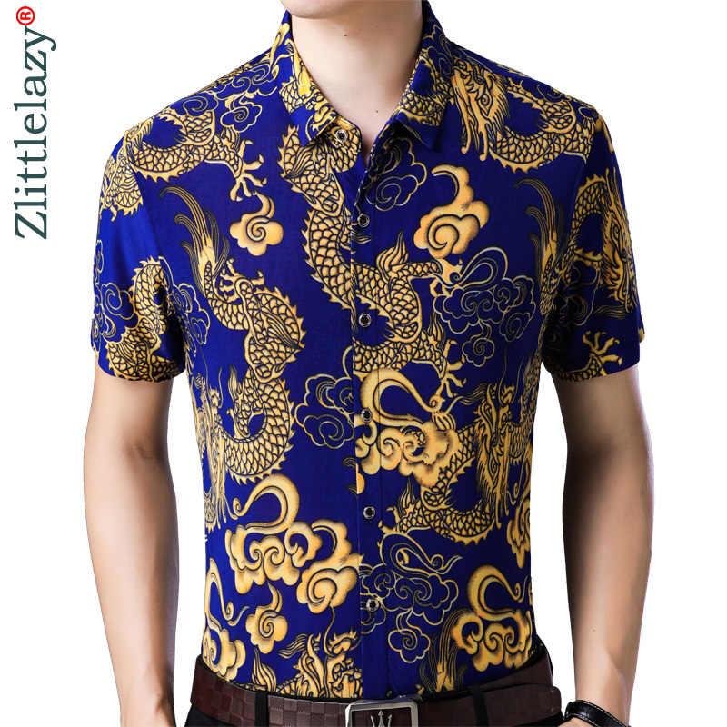 2019 летние шорты рукавом для мужчин гавайская рубашка цветочный Гавайи платье с драконом повседневное зауженные официальные Одежда роскошные рубашк
