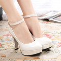 2015 spring and autumn fashion with the single shoes platform thick heel high heels plus size women's shoes
