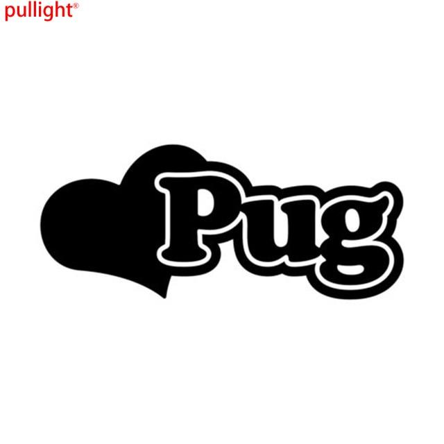 Pug love heart custom vinyl decal car bumper sticker window vehicle dog gift