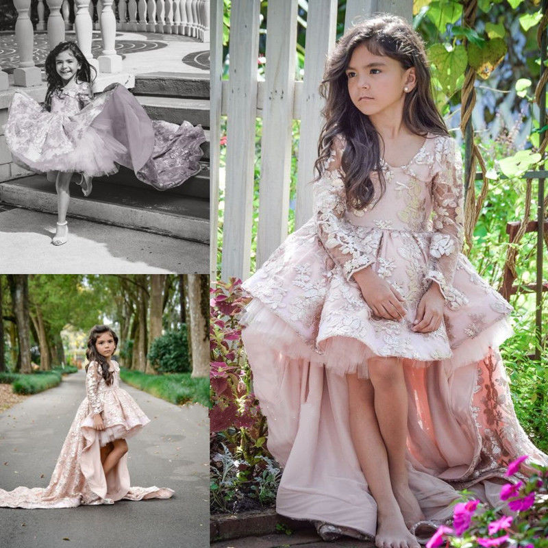 Здесь продается  Blush pink silver sequins lace High-Low Long Train little princess Pageant Flower Girl Dresses Party Prom Gown with long sleeves  Детские товары