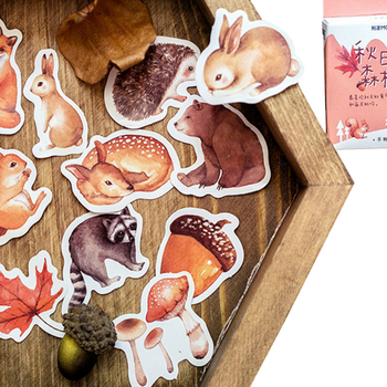 46pcs/box Cute Autumn forest animals Label Stickers Mini Boxed Stickers Diary Adhesive Scrapbooking Decorative DIY Stickers 46pcs 1pack stationery stickers forest fruit animals diary planner decorative mobile stickers scrapbooking diy craft stickers